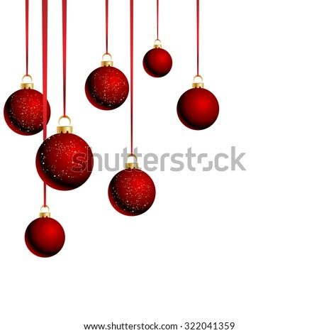 Christmas red balls with ribbons on white background - stock vector