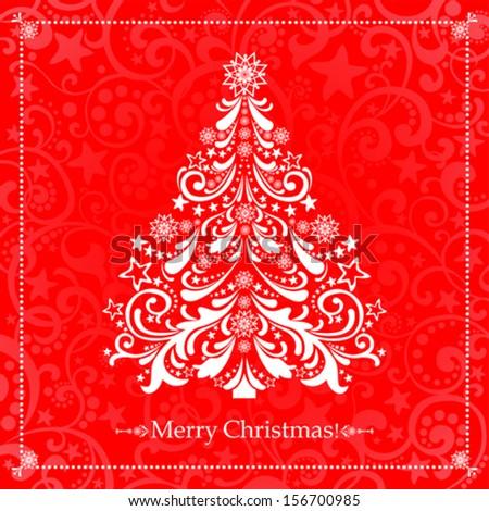 Christmas red card. Christmas tree. Vector Illustration  - stock vector
