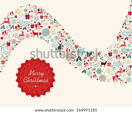 Christmas red card label and holiday icons wave shape background. EPS10 vector file organized in layers for easy editing. - stock vector