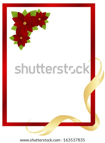 Christmas red frame with poinsettia and ribbon. Vector illustration.