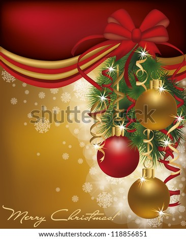 Christmas red golden card background, vector illustration