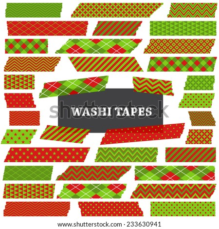 Christmas Red, Green and Lime Green Washi Tape Strips. Semitransparent. Photo Frame Border, Clip Art, Scrapbook Embellishment. Argyle, Gingham, Polka Dot & Stripes. Global colors used in vector file.  - stock vector