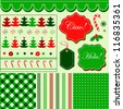 Christmas red green pattern, frames and holiday backgrounds - stock photo