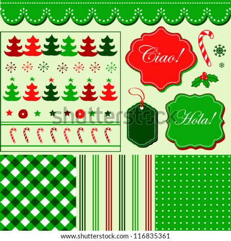 Christmas red green pattern, frames and holiday backgrounds - stock vector