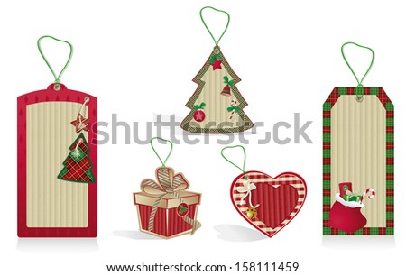 Christmas red labels from kraft recycled paper.