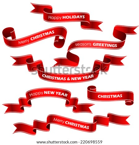 Christmas red ribbons. Vector - stock vector