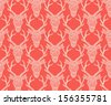 Christmas red seamless lace background with deer heads - stock