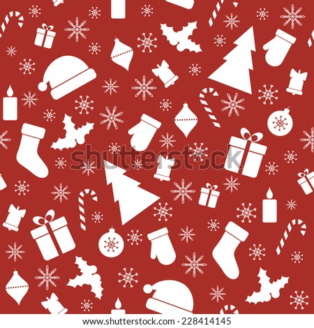 Christmas red seamless pattern - stock vector