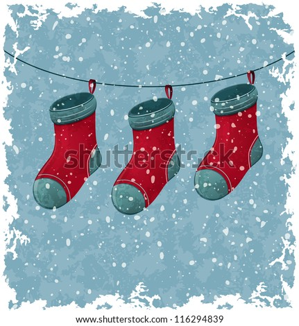 Christmas red socks. Blue vintage background. Vector Illustration.