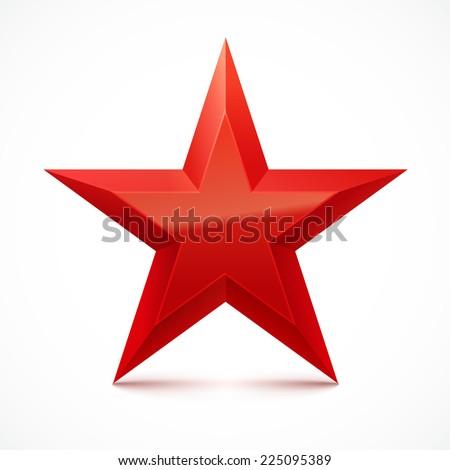 Christmas red star on white background. Vector illustration. - stock vector