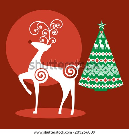 Christmas reindeer and decorative tree  - stock vector