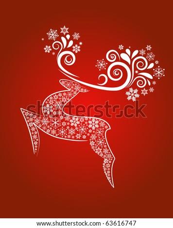 Christmas reindeer background - stock vector
