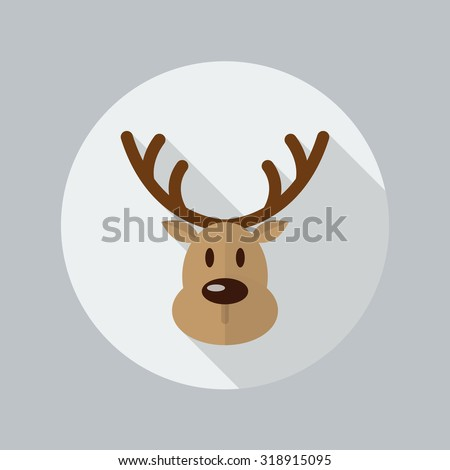 Christmas Reindeer Flat Icon With Long Shadow - stock vector