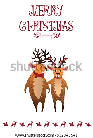 Cute cartoon deers on snow background stock vector for Funny reindeer christmas cards
