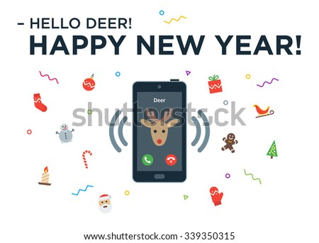 Christmas Reindeer incoming phone call with lettering Happy New Year and design elements. Vector Christmas illustration - stock vector