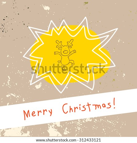 Christmas reindeer, merry christmas greeting card. Doodle style vector illustration.  - stock vector