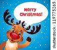 Christmas reindeer red nose speech bubble - stock vector