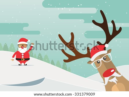 Christmas reindeer red nose with winter landscape. Vector Illustration. - stock vector