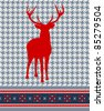 Christmas reindeer silhouette on vintage seamless pattern background. Vector illustration. - stock vector