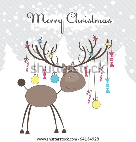 Christmas reindeer with gifts. Vector illustration - stock vector