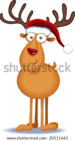Christmas Reindeer with Santa Hat - stock vector
