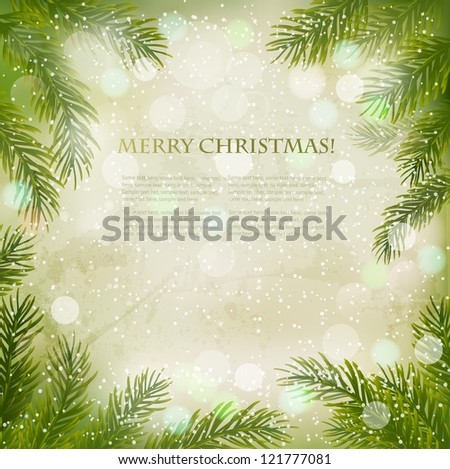 Christmas retro background with christmas tree branches and snowflakes.  Vector. - stock vector