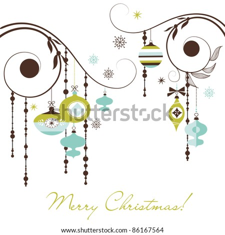 Christmas Retro Decorations - stock vector