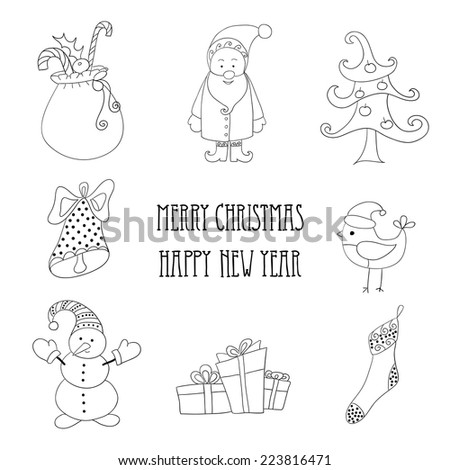 Christmas retro elements and illustrations, lettering. - stock vector
