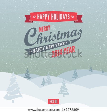Christmas retro greeting card and background. EPS 10 - stock vector