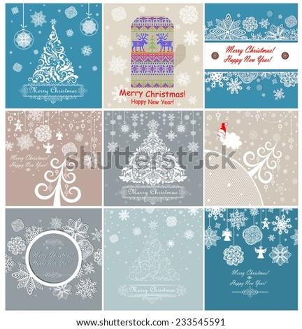 Christmas retro greeting cards - stock vector