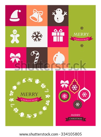 Christmas retro icons, elements and illustrations - stock vector