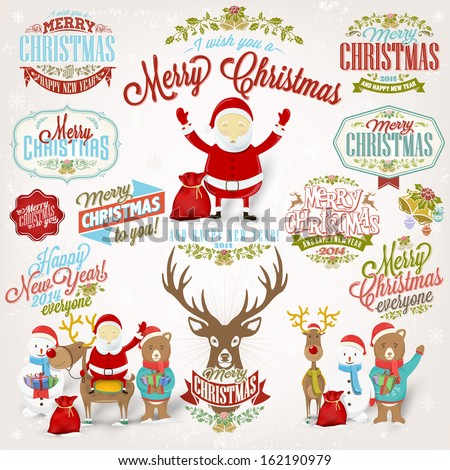 Christmas Retro Icons, Elements And Illustrations Set - stock vector