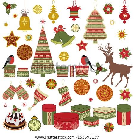 Christmas retro icons, set of Christmas elements - stock vector