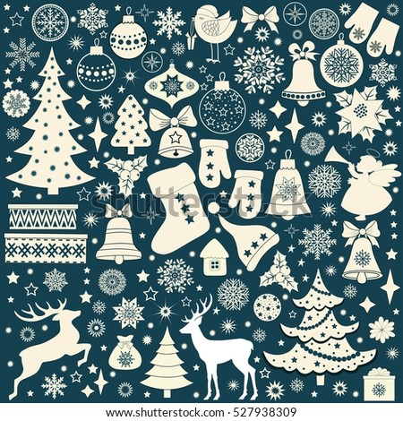 Christmas retro icons, set of Christmas elements on blue background