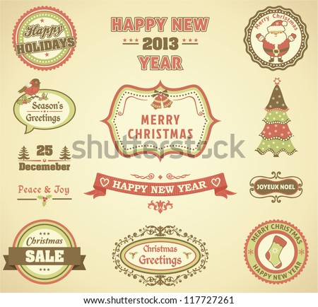 Christmas retro labels - stock vector