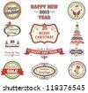 Christmas retro labels set - stock vector