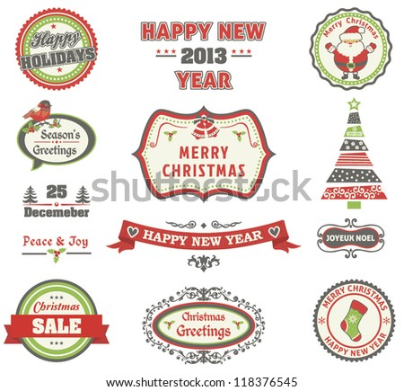 Christmas retro labels set - stock vector