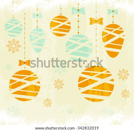 Christmas, retro poster, background, backdrop, card with simple hanging decorations - balls with bows, beautiful blue and orange snowflakes - stock vector