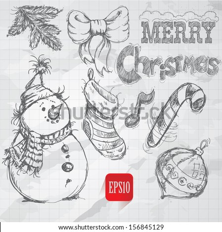 Christmas retro sketch doodles on old paper background. Vector sketch style illustration set. Snowman, pine branch, candy stick, bow and christmas ornament. Hand drawn vintage design. - stock vector
