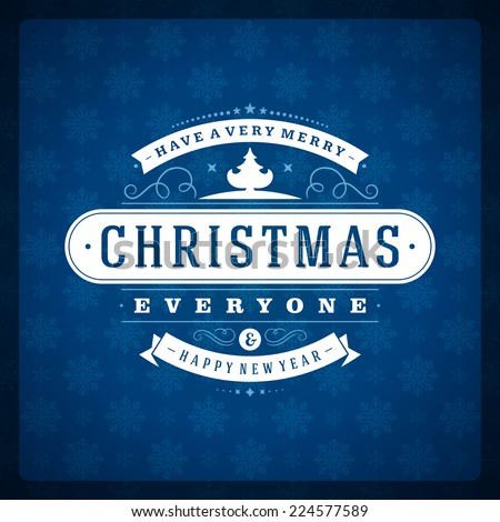 Christmas retro typography and ornament decoration. Merry Christ - stock vector