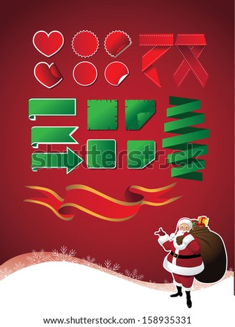 Christmas ribbon and sticker set with bonus Santa Claus background. EPS 10 vector, grouped for easy editing. No open shapes or paths. - stock vector