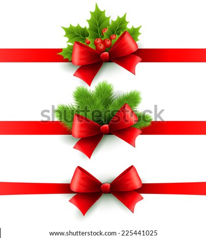 Christmas ribbon decoration - stock vector