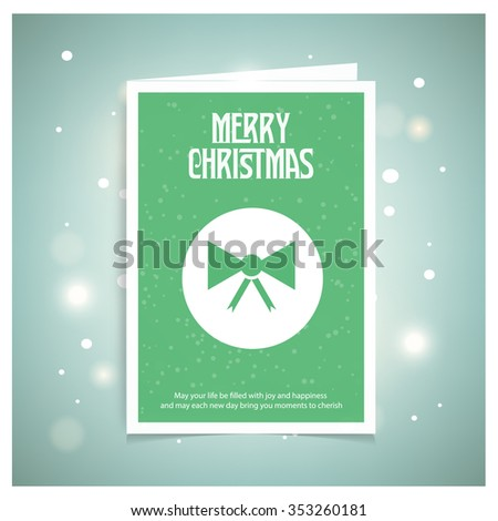 Christmas Ribbon gift bow. Christmas book cover or flyer template, vector background - stock vector