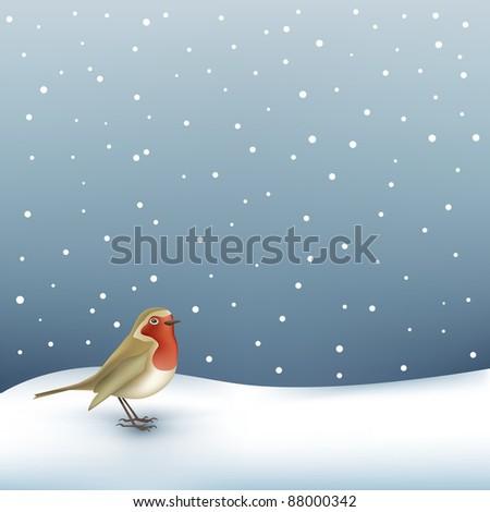 Christmas robin on snow landscape background - stock vector