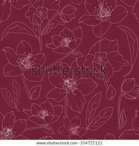 Christmas rose hellebore flowers seamless pattern. Detailed beige outline on purple plum background. Vector illustration. Lily, poppy flowers pattern. Tulips.  - stock vector
