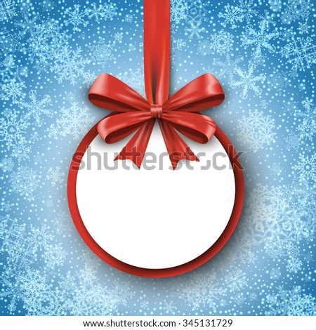 Christmas round gift card with red ribbon and satin bow on snowflakes background. Greetings banner winter holiday. Vector illustration EPS10 - stock vector