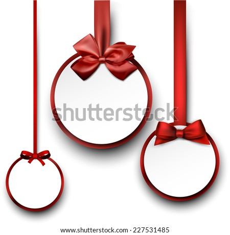 Christmas round gift cards with red ribbons and satin bows. Vector illustration.   - stock vector