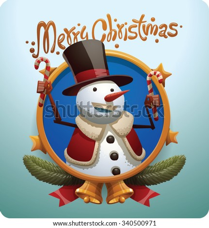 Christmas round gold label with stars bells and Christmas snowman in black tall hat and red jacket holding candies, vector - stock vector