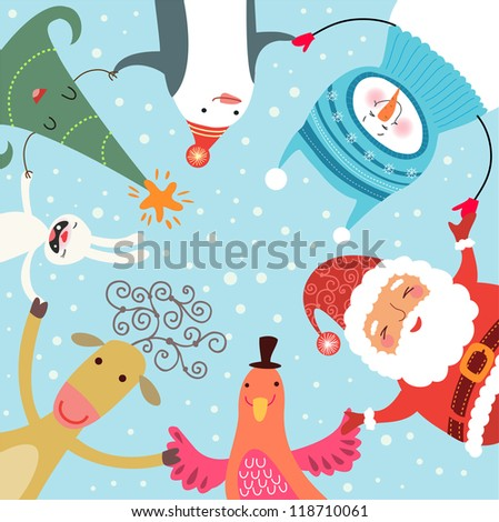 Christmas roundelay - stock vector