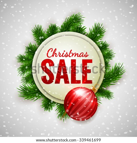 Christmas sale advertising white banner decorated with fir branches and red bauble on show background, winter sale, Christmas, New Year design, vector illustration - stock vector